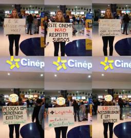 Jovem protesta contra a falta de legenda nos cinemas