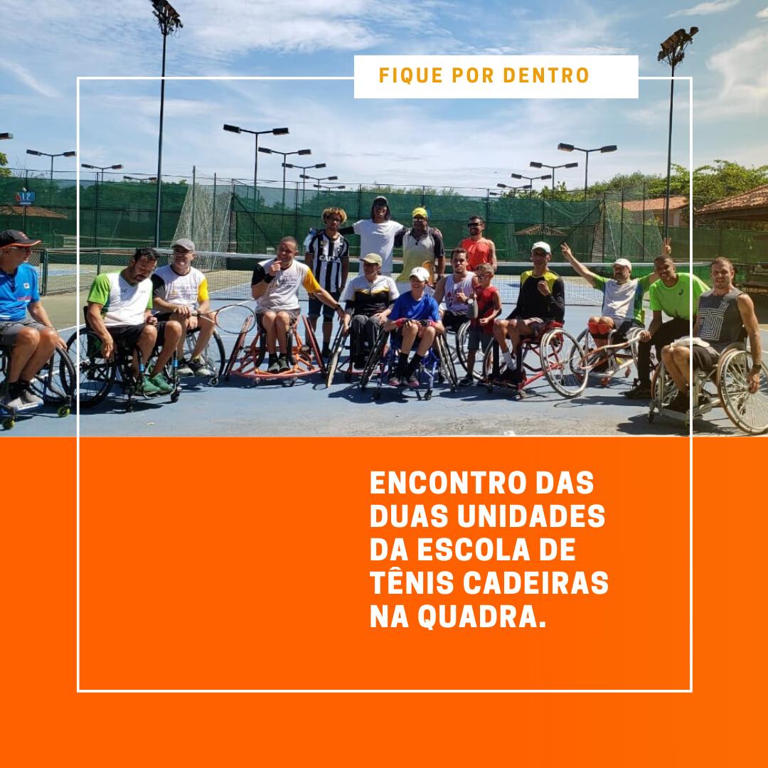 Foto de Encontro das duas unidades da Escola de Tênis Cadeiras na Quadra